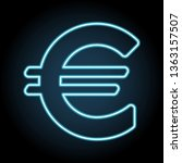 euro sign neon icon. simple...