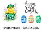 hand drawn watercolor easter... | Shutterstock . vector #1363157807