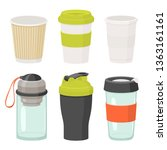 cups and drink glasses vector... | Shutterstock .eps vector #1363161161
