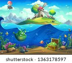 undersea world with mill on... | Shutterstock .eps vector #1363178597