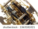 Small photo of Inner workings of an old windup timepiece
