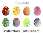 easter eggs set vector icon....   Shutterstock .eps vector #1363185374