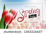 spring sale advertising text... | Shutterstock . vector #1363216637