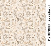 coffee and cakes seamless...   Shutterstock .eps vector #136321874