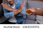 asian man in blue jean jacket... | Shutterstock . vector #1363233551