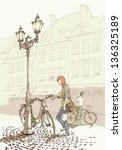 biking in the old town | Shutterstock .eps vector #136325189