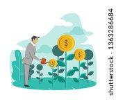businessman watering money...   Shutterstock .eps vector #1363286684