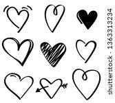 black hand drawn hearts... | Shutterstock .eps vector #1363313234