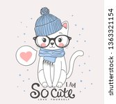 cute cat with knitted cap ... | Shutterstock .eps vector #1363321154