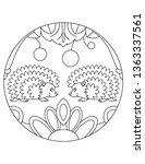 hedgehog pattern. illustration... | Shutterstock .eps vector #1363337561
