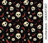 skull vector seamless pattern...   Shutterstock .eps vector #1363357307