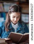 beautiful schoolgirl sitting in ... | Shutterstock . vector #1363360127