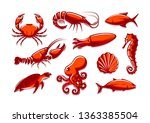 set of sea creatures icons....   Shutterstock .eps vector #1363385504