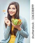 woman diet concept portrait.... | Shutterstock . vector #136338899