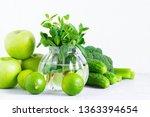 fresh green vegetables and... | Shutterstock . vector #1363394654