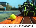 Tennis Ball And Sport Bag On...