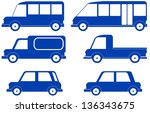 set isolated blue cars