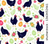 seamless pattern with chickens...   Shutterstock .eps vector #1363452461