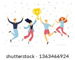 happy group of people jumping... | Shutterstock .eps vector #1363466924