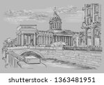 cityscape of kazan cathedral in ... | Shutterstock .eps vector #1363481951