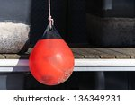 Red Buoy For Protecting Moored...