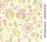 cute pattern with owls | Shutterstock .eps vector #136351934