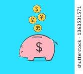 piggy bank icon. a saving or... | Shutterstock .eps vector #1363531571