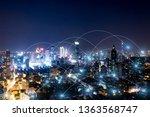 modern city with wireless... | Shutterstock . vector #1363568747