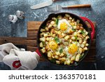 potato hash with ham  herbs and ...   Shutterstock . vector #1363570181