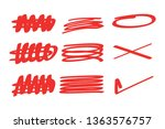 red hand drawn underline... | Shutterstock .eps vector #1363576757