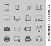 communication device icons | Shutterstock .eps vector #136358771