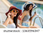 two beautiful young woman with... | Shutterstock . vector #1363596347