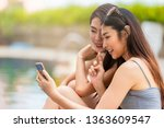 group of young woman using... | Shutterstock . vector #1363609547