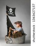 little boy imagine themselve as ... | Shutterstock . vector #1363627157