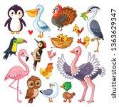 set with birds. vector... | Shutterstock .eps vector #1363629347