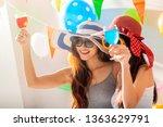 two attractive girls  cheerful... | Shutterstock . vector #1363629791