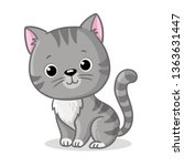 Stock vector gray kitten sitting on a white background cute pet in cartoon style vector illustration 1363631447