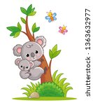 koala with a cub on its back... | Shutterstock .eps vector #1363632977