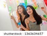 friends having party and... | Shutterstock . vector #1363634657