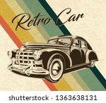 vintage car on retro background.... | Shutterstock .eps vector #1363638131