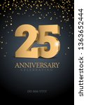 anniversary 25. gold 3d numbers.... | Shutterstock .eps vector #1363652444