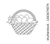 easter basket with eggs outline ... | Shutterstock .eps vector #1363674074