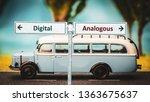 street sign digital versus... | Shutterstock . vector #1363675637