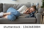 Frustrated Sad Woman Lying On...