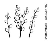 vector set with outline willow... | Shutterstock .eps vector #1363684787