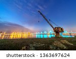 at night  the cranes on the...   Shutterstock . vector #1363697624