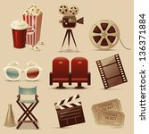 cinema icons | Shutterstock .eps vector #136371884
