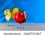 two refreshing cocktails with...   Shutterstock . vector #1363721567