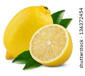 fresh lemon with half and... | Shutterstock . vector #136372454