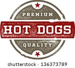 vintage premium hot dog sign | Shutterstock .eps vector #136373789